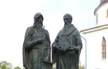 Памятник Кириллу и Мефодию художественное литье из бронзы, гранит г. Дмитров 2
